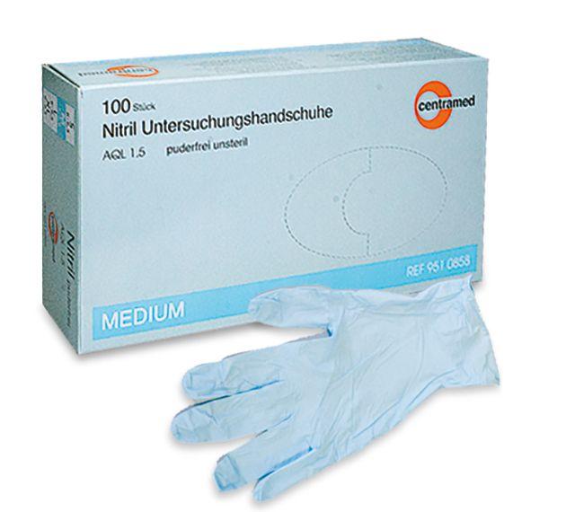slide image Centramed Nitril Handschuhe puderfrei blau